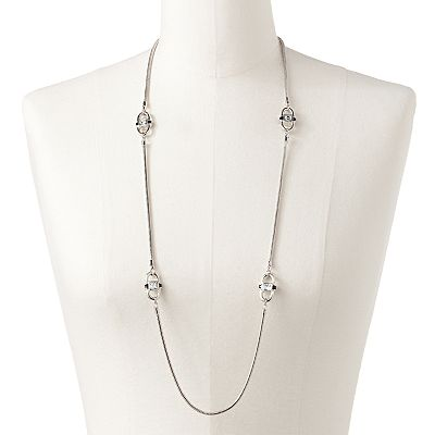 Jennifer Lopez Silver Tone Simulated Crystal Long Necklace