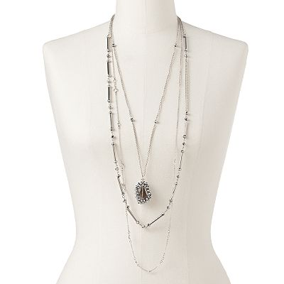 Jennifer Lopez Silver Tone Bead and Simulated Crystal Pendant