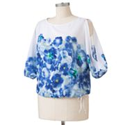Apt. 9 Floral Open-Shoulder Top - Women's Plus