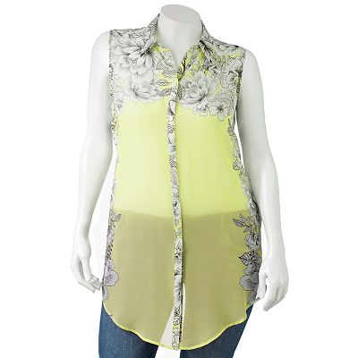 Apt. 9 Floral Chiffon Blouse - Women's Plus