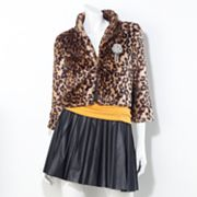 Princess Vera Wang Faux Cheetah Fur Jacket - Juniors