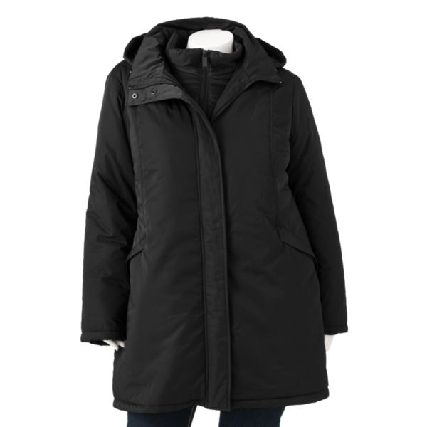 R and O Hooded Puffer 3in1 Systems Jacket Women,s Plus