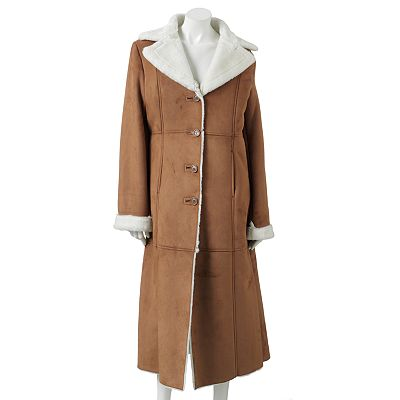 Excelled Long Faux-Shearling Coat