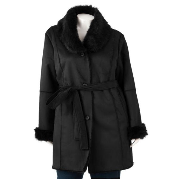 R and O FauxShearling Coat Women,s Plus