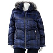 ZeroXposur Hooded Plaid Down Puffer Jacket - Women's Plus