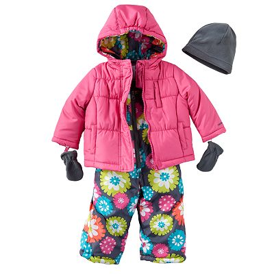 Carter's Solid Jacket and Floral Snowpants Set - Baby