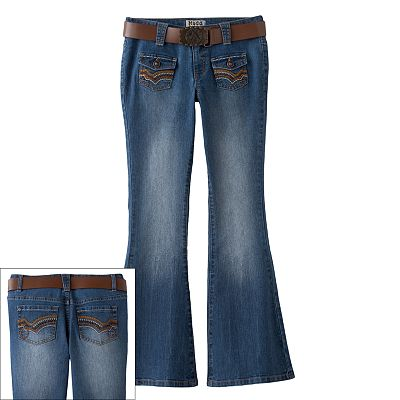 Mudd Embroidered Belted Flare Jeans - Girls 7-16