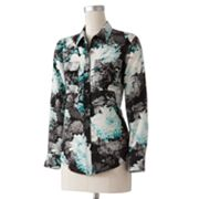 Apt. 9 Floral Drop-Tail Hem Shirt