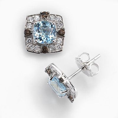14k White Gold Blue and White Topaz, and Smoky Quartz Frame Stud Earrings