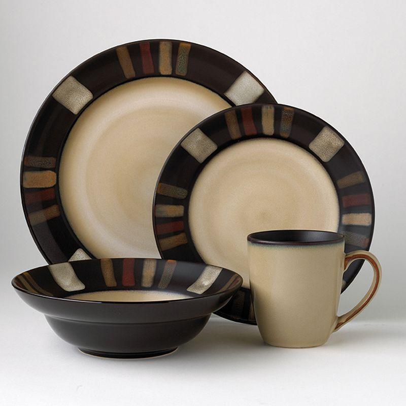 Pfaltzgraff Everyday Tahoe 16-pc. Dinnerware Set, Black/Beige/Red