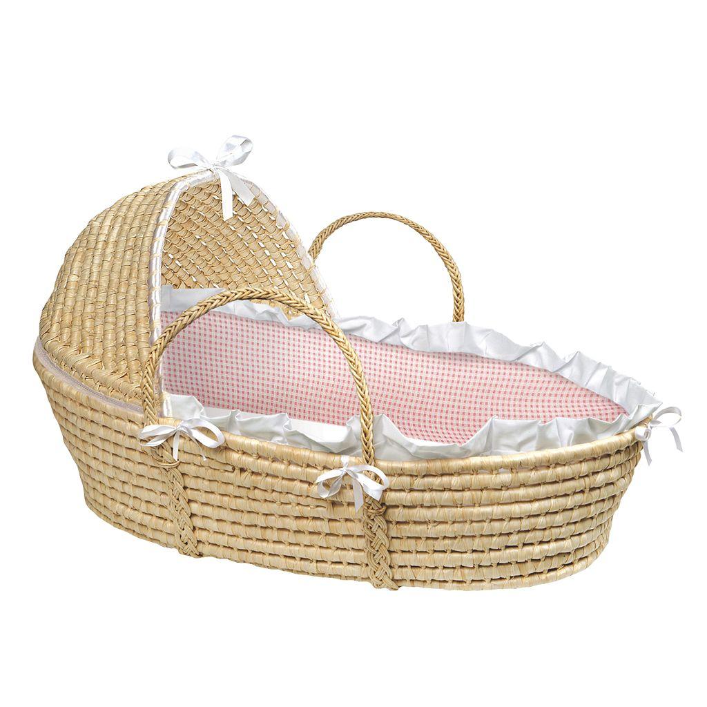 Badger Basket Hooded Gingham Moses Basket