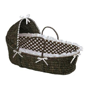 Badger Basket Polka-Dot Hooded Moses Basket