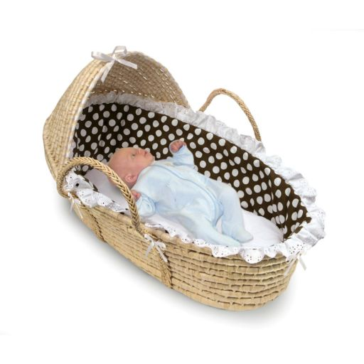 Badger Basket Polka-Dot Hooded Moses Basket