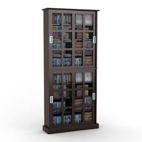 Atlantic Windowpane Espresso Multimedia Cabinet