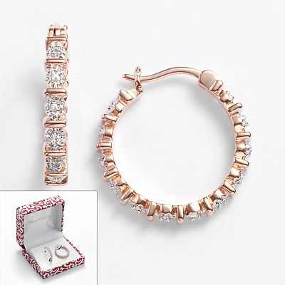 18k Rose Gold Plate Diamond Accent Hoop Earrings