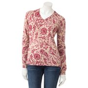 Croft and Barrow Scroll Lurex Sweater - Petite