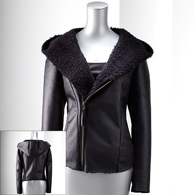 Simply Vera Vera Wang Mixed-Media Hooded Jacket - Petite