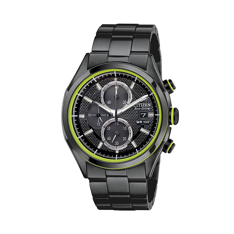 Drive from Citizen Eco-Drive Men's Stainless Steel Chronograph Watch - CA0435-51E, Size: Large, Black