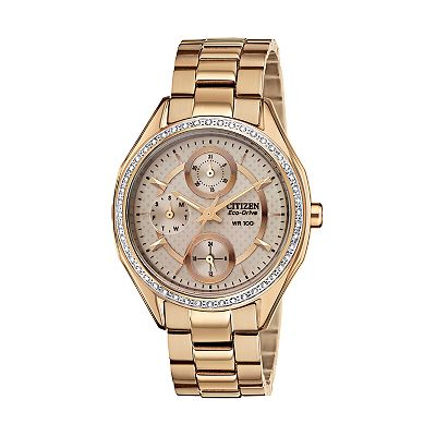 Citizen Eco-Drive Rose Gold Tone Stainless Steel Crystal Watch - Made with Swarovski Elements - FD1063-57X - Women