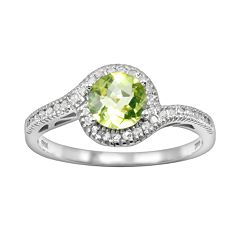 10k White Gold 1/8 ctT.W. Diamond & Peridot Swirl Ring