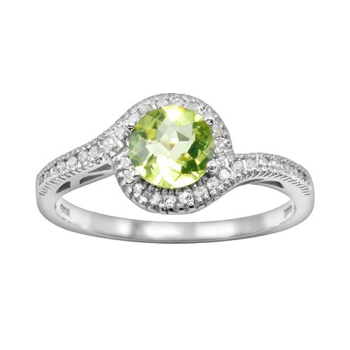 10k White Gold 1/8-ct. T.W. Diamond & Peridot Swirl Ring