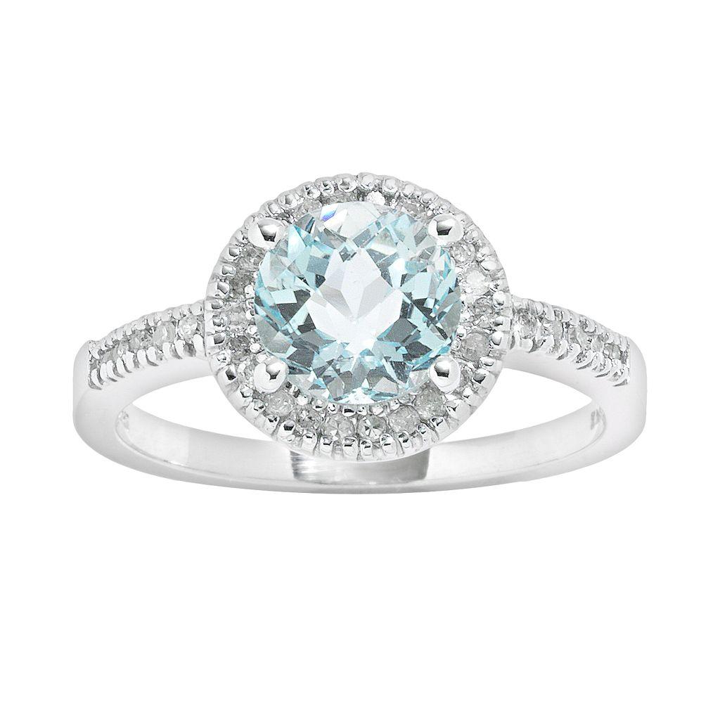 10k White Gold 1/6-ct. T.W. Diamond & Blue Topaz Frame Ring