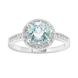 10k White Gold 1/6-ct. T.W. Diamond and Blue Topaz Frame Ring