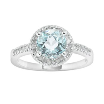 10k White Gold 1/6-ct. T.W. Diamond and Blue Topaz Frame Ring