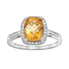 10k White Gold .16-ct. T.W. Diamond & Citrine Frame Ring