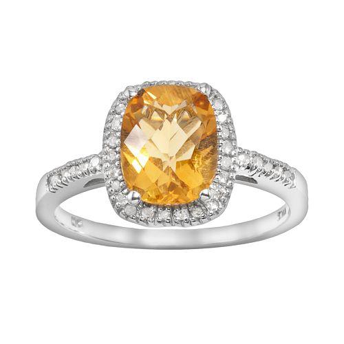 10k White Gold .16-ct. T.W. Diamond & Citrine Frame Ring