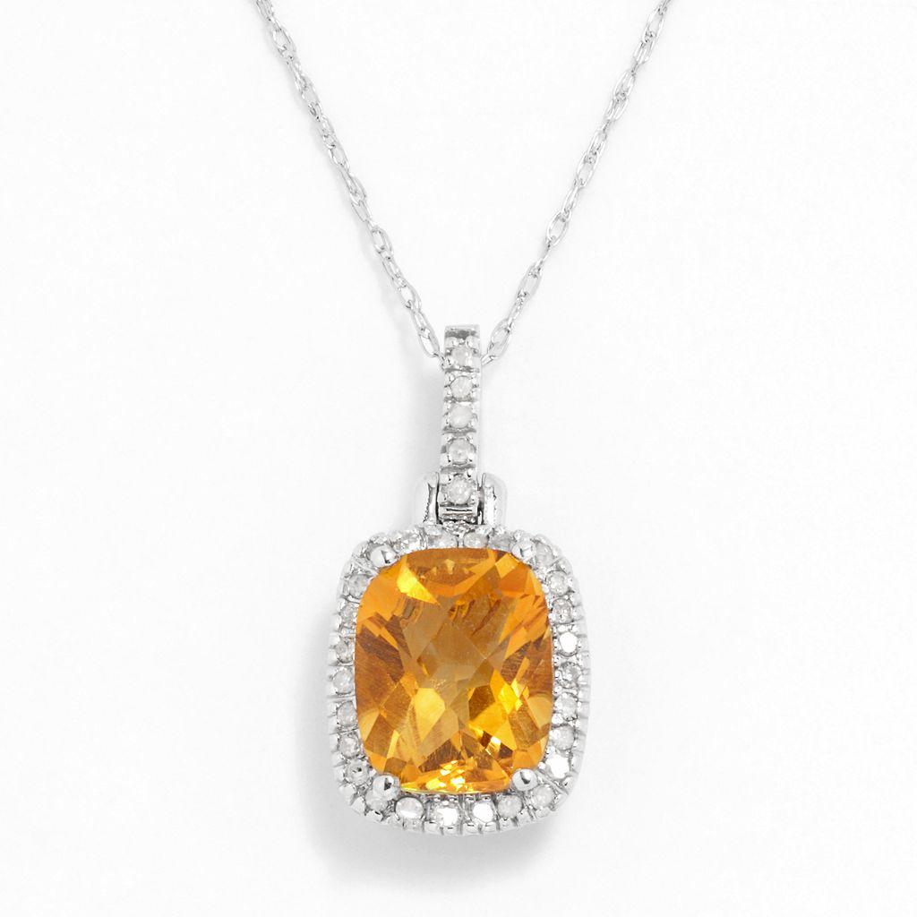 10k White Gold .16-ct. T.W. Diamond & Citrine Cushion Pendant