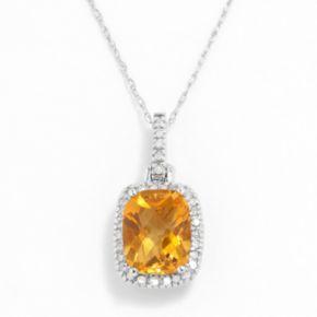 10k White Gold .16-ct. T.W. Diamond and Citrine Cushion Pendant