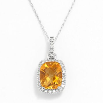 10k White Gold .16-ct. T.W. Diamond & Citrine Cushion Pendant
