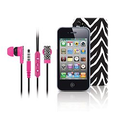 Merkury Innovations Black Zebra iPhone 4 Headset & Cell Phone Case