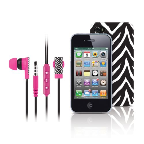 Merkury Innovations Black Zebra iPhone 4 Headset and Cell Phone Case