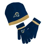 Reebok St. Louis Rams Knit Cap and Gloves Set - Youth