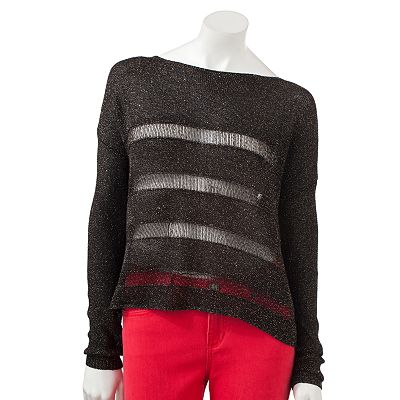 Rock and Republic Sequin Striped Crop Sweater