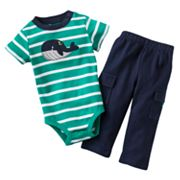 Carter's Whale Striped Bodysuit and Cargo Pants Set - Baby
