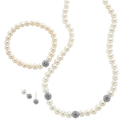Sterling Silver Freshwater Cultured Pearl and Simulated Crystal Necklace, Stretch Bracelet and Stud Earring Set
