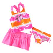 ZeroXposur Striped Butterfly 3-pc. Tankini Swimsuit Set - Girls 4-6x