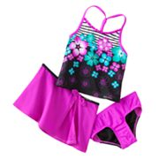 ZeroXposur Floral 3-pc. Tankini Swimsuit Set - Girls 4-6x