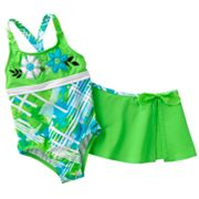 ZeroXposur Windsurf One-Piece Swimsuit and Cover-Up Set - Girls 4-6x