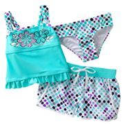 ZeroXposur Dotted 3-pc. Tankini Swimsuit Set - Girls 4-6x