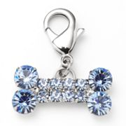 Silver Tone Simulated Crystal Bone Pet Charm