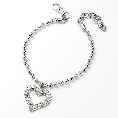 Silver Tone Simulated Crystal Heart Charm Pet Collar