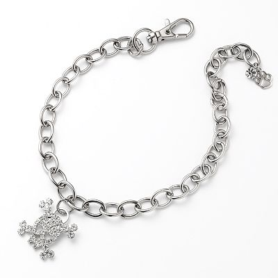 Silver Tone Simulated Crystal Skull Charm Pet Collar