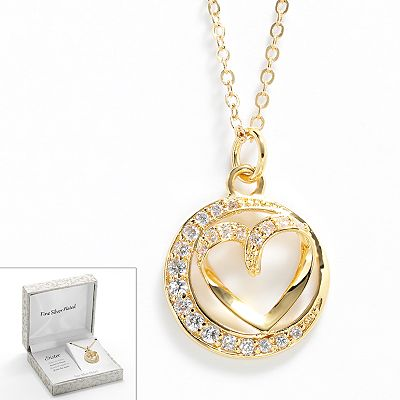 Gold Tone Silver Plated Cubic Zirconia Sister Circle and Heart Pendant