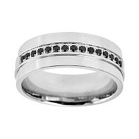 Stainless Steel .15-ct. T.W. Black Diamond Band - Men