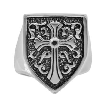 Stainless Steel and Black Immersion-Plated Stainless Steel Black Diamond Accent Cross and Shield Ring - Men