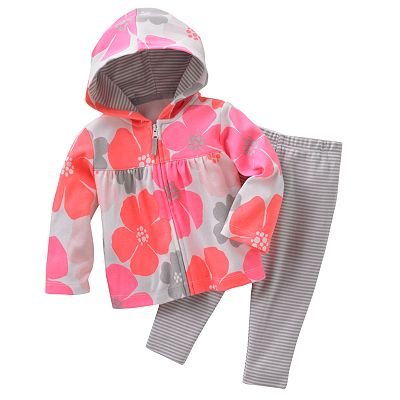 Carter's Floral Hooded Cardigan and Leggings Set - Baby